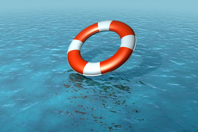 Lifebelt, buoy being thrown into sea, rescuing, rising sea levels